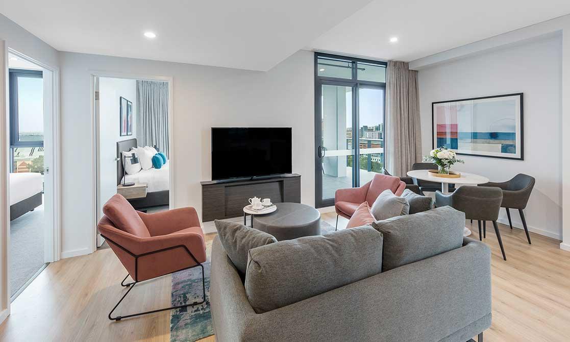 Open plan living room at Avani Adelaide Residences