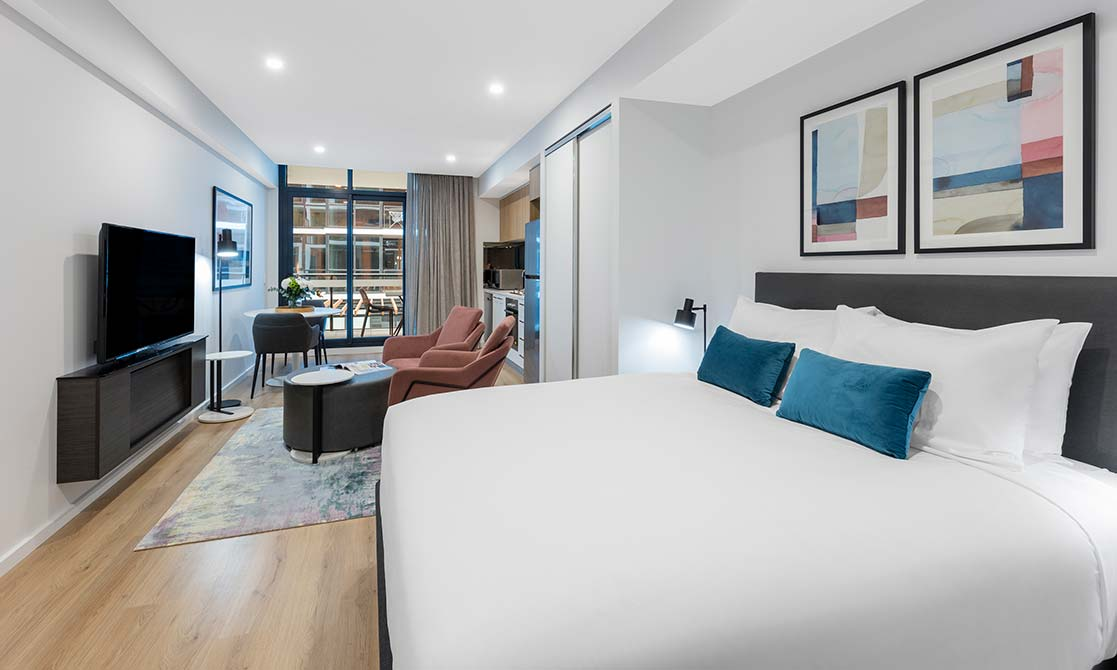 King size bed with maximum comfort at Avani Adelaide