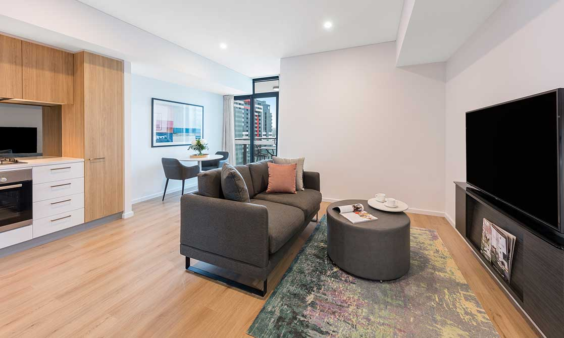 Comfortably furnished open-plan living room