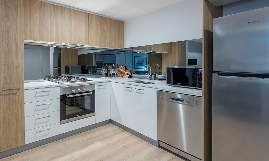 Fully Equipped Kitchen with Fridge, Oven and Microwave
