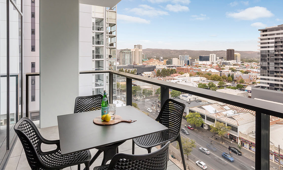 Spacious and private balcony at Avani Adelaide Two Bedroom Superior Suite