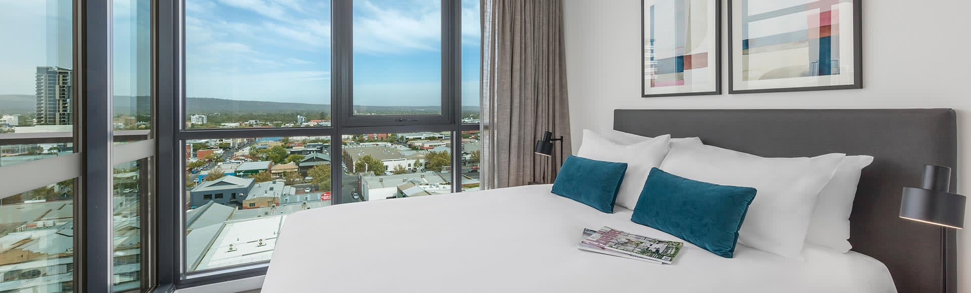 City view and superior king bed at Avani Adelaide