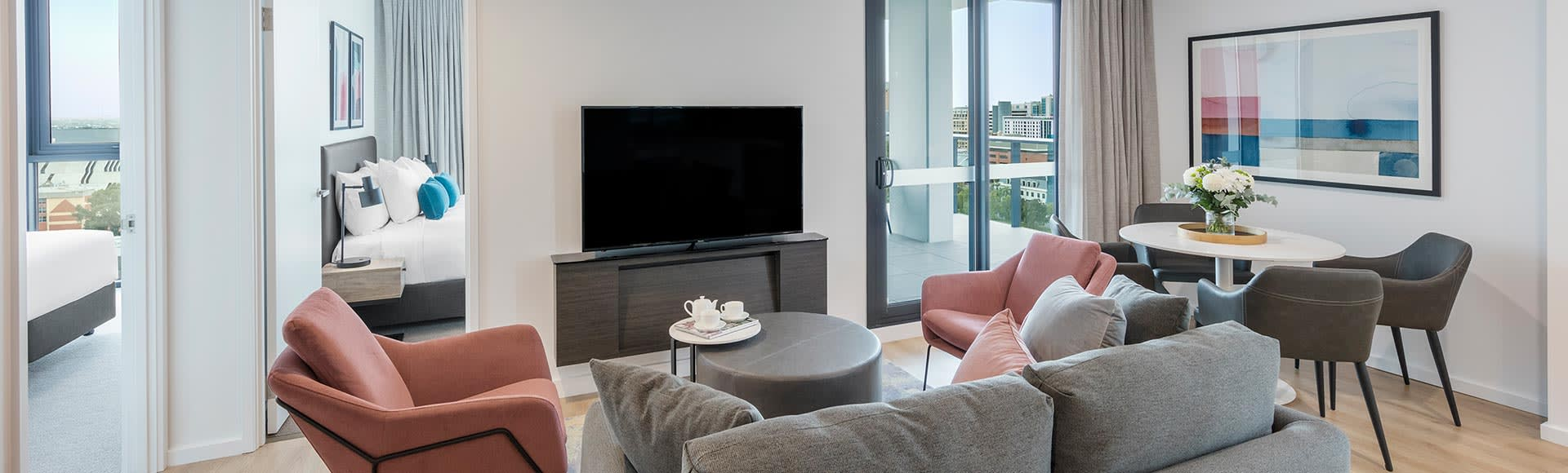 Open-space living room at Avani Adelaide