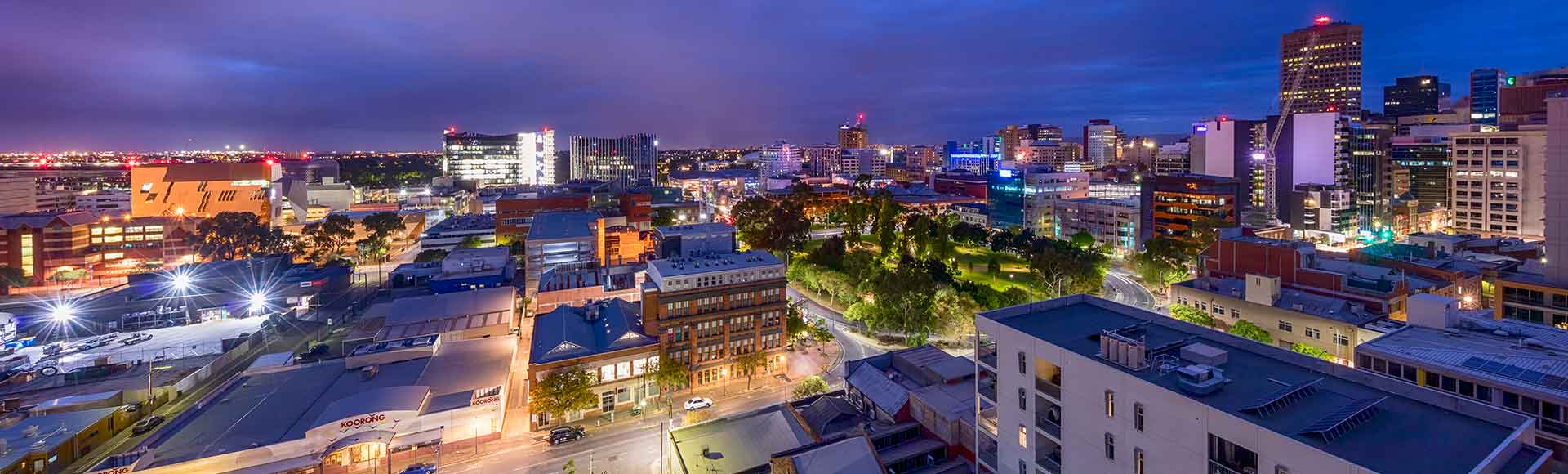 Gorgeous night city view of Adelaide