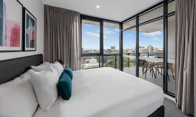Bedroom with Adelaide skyline city views