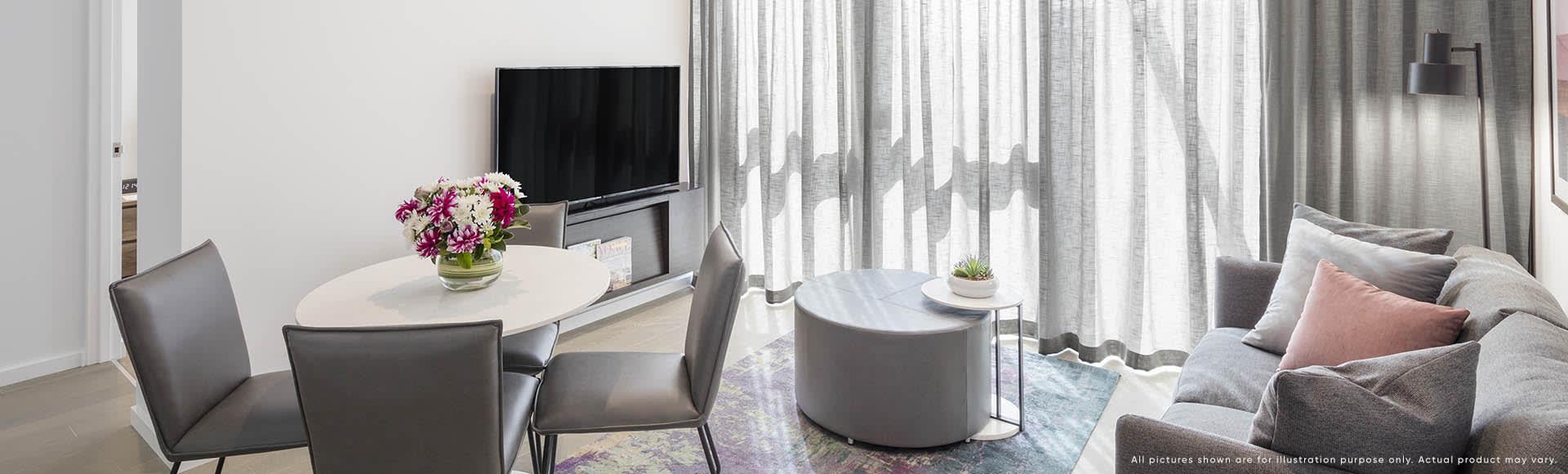 Avani Box Hill 1 Bedroom Suite Lounge 1920x580px