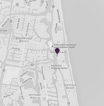 Location of the broadbeach