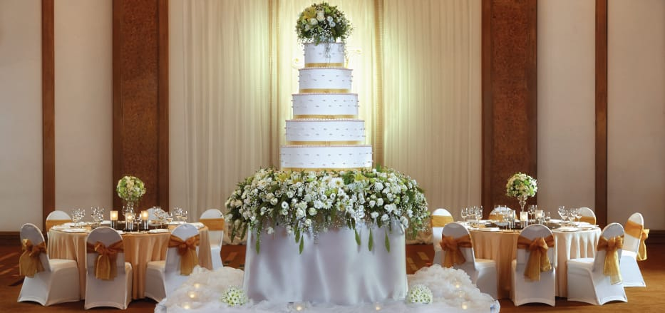 Wedding Cake and hall Decorations