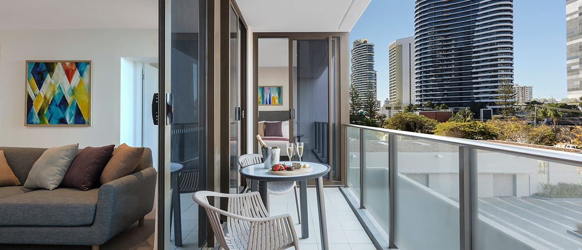 Large private hotel balcony AVANI Broadbeach overlooking ocean close to beach tourist attractions
