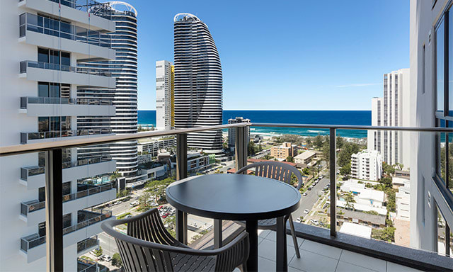 1 Bedroom Ocean Suite Balcony View at AVANI Broadbeach, Gold Coast, Australia