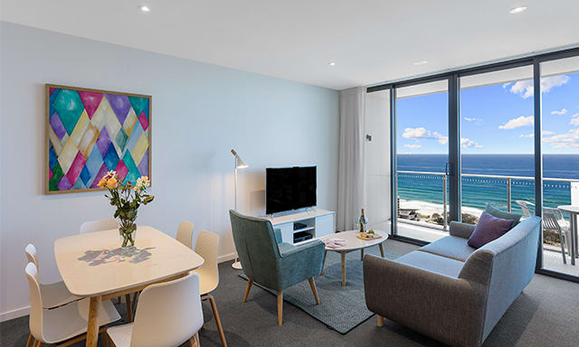 AVANI Broadbeach 2 Bedroom Premier Ocean Suite Living at Gold Coast hotel