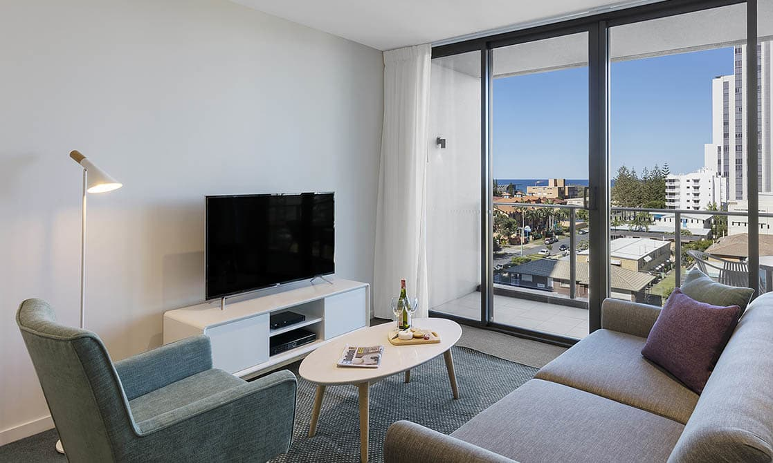 One Bedroom Ocean Suite Living Out at AVANI Broadbeach Gold Coast Hotels