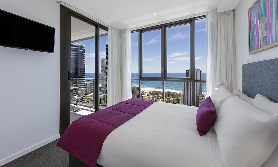 One Bedroom Premier Ocean Suite Bedroom at AVANI Broadbeach Gold Coast Hotels