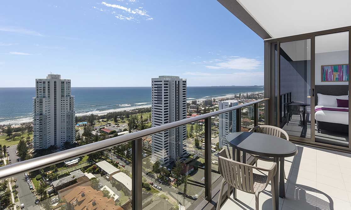 two Bedroom Premier Ocean Suite Balcony View at AVANI Broadbeach Gold Coast Hotels