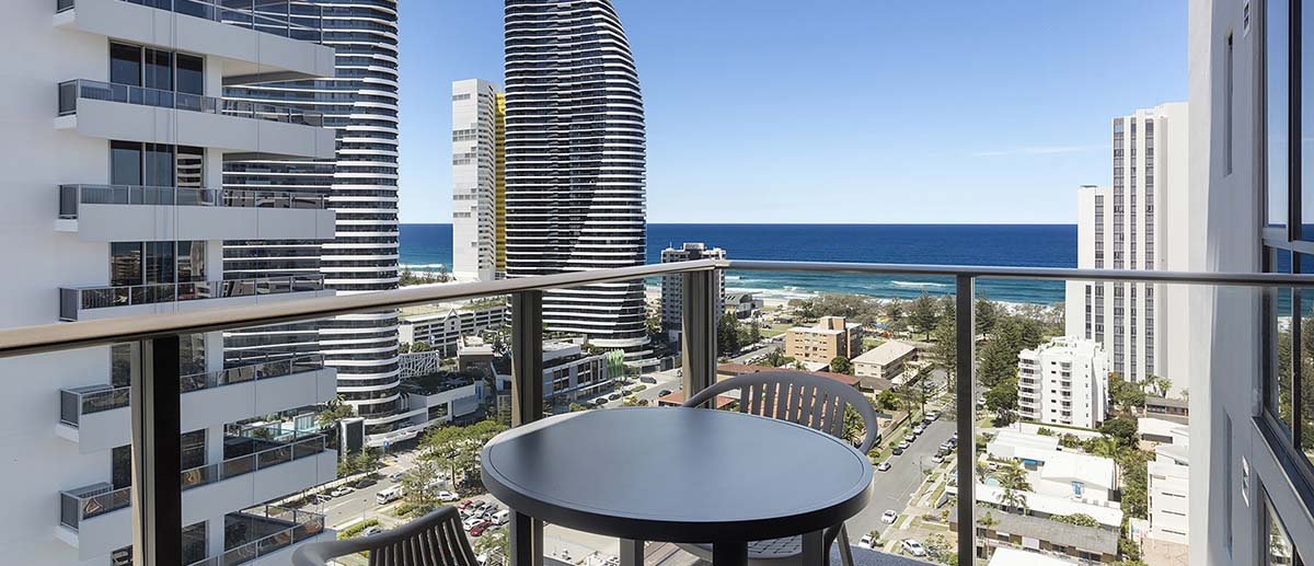 ocean view at the balcony of the one bedroom ocean suite AVANI Broadbeach Gold Coast Hotels