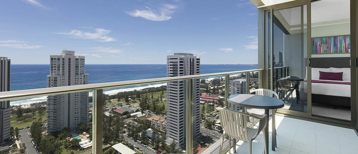 spacious balcony with grand ocean view at the one bedroom premier ocean suite AVANI Broadbeach Gold Coast Hotels