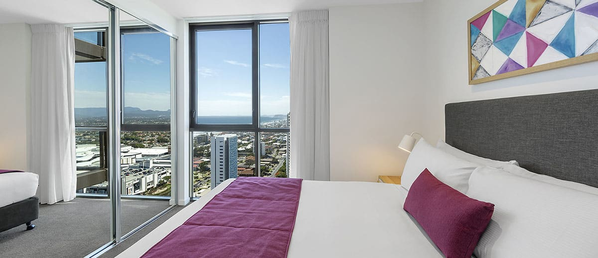City view in the queen sized bedroom at the two bedroom premier ocean suite AVANI Broadbeach Gold Coast Hotels