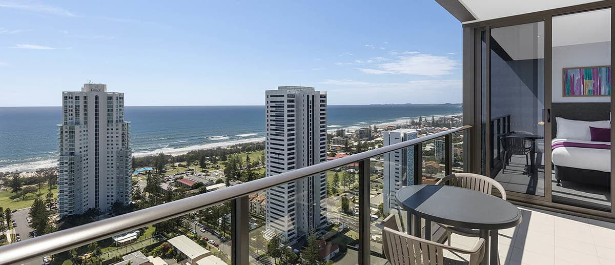 spacious private balcony with grand ocean view at the two premier bedroom ocean suite AVANI Broadbeach Gold Coast Hotels
