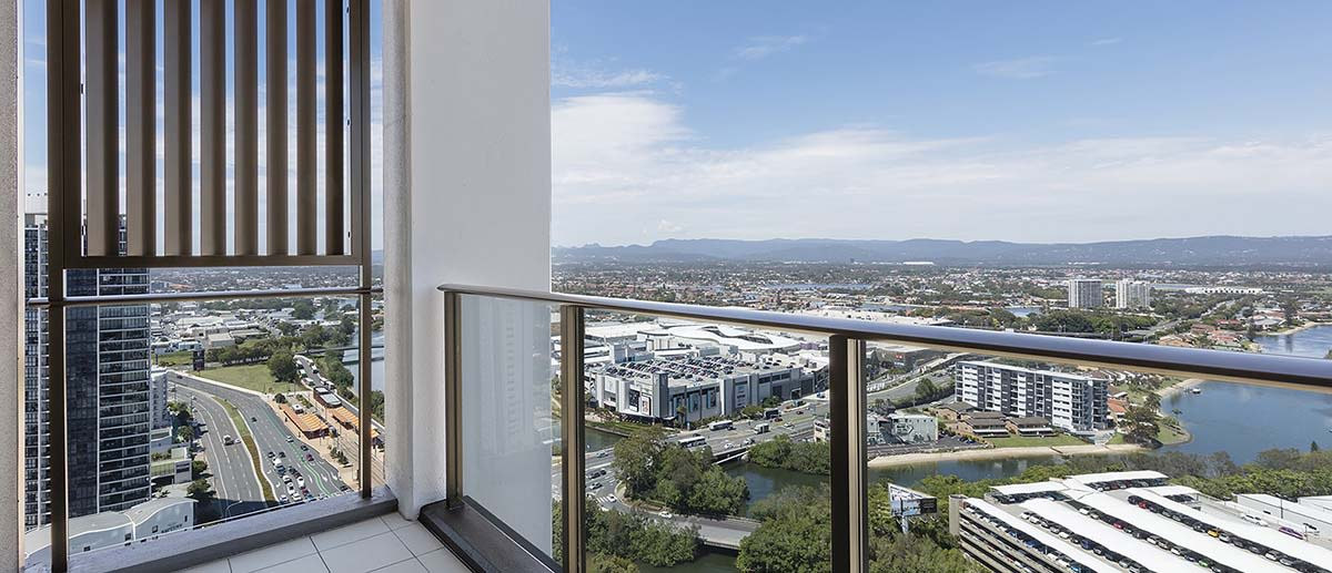 grand city and lake view at the balcony of the two bedroom suite AVANI Broadbeach Gold Coast Hotels