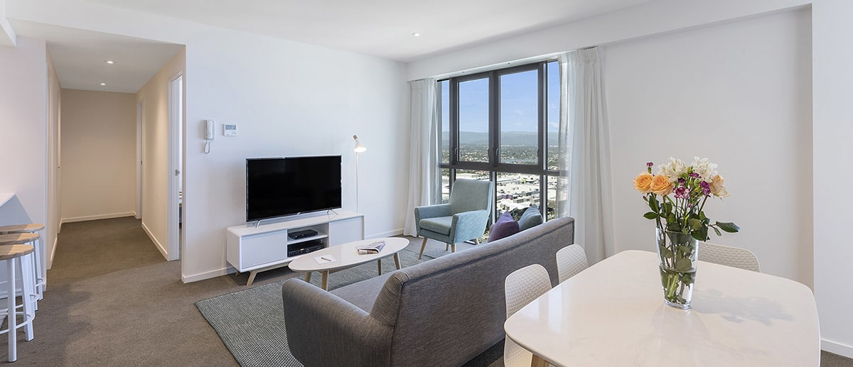 Spacious living areas at the two bedroom suite AVANI Broadbeach Gold Coast Hotels