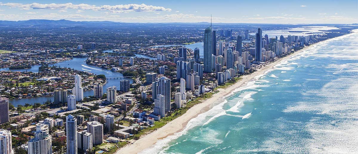 aerial view of broadbeach where AVANI Broadbeach Gold Coast Hotel is located