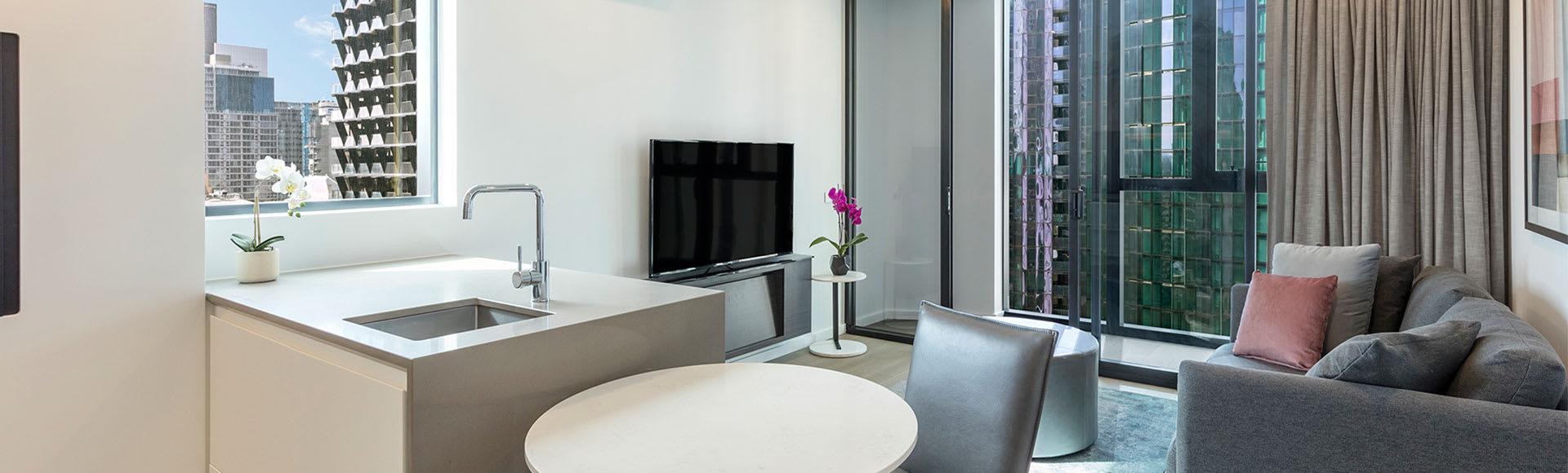 Avani Melbourne Central Residences 1 Bedroom Superior Suite Living Out