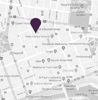 Map pin showing location of AVANI Central Melbourne Residences hotel in Melbourne city
