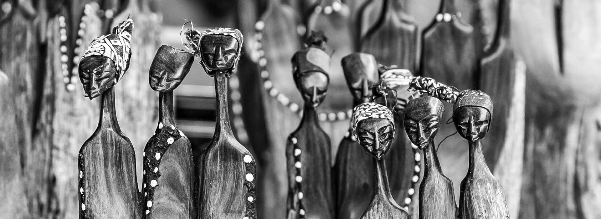 A collection of African wooden sculptures