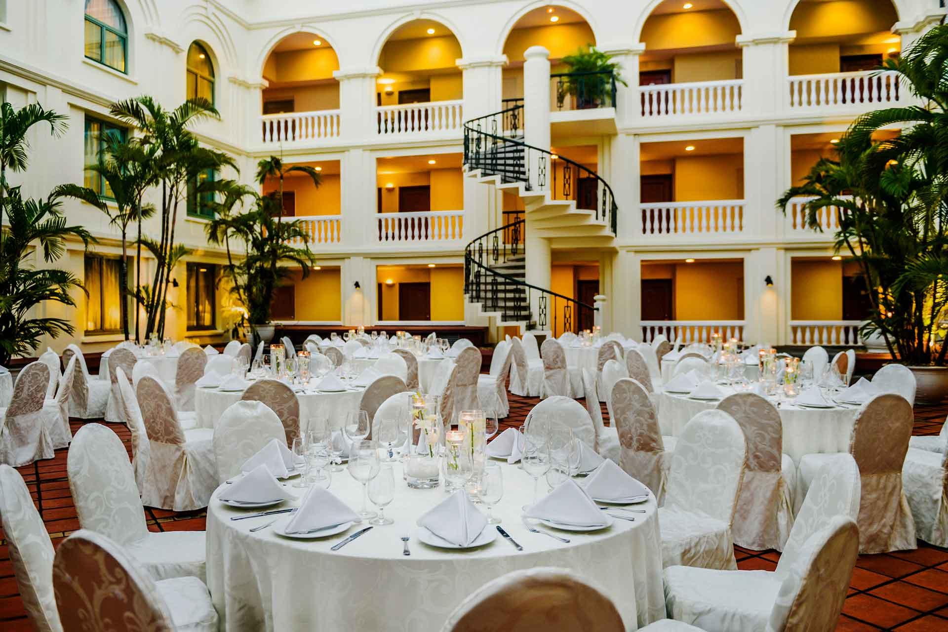 Courtyard wedding table set up