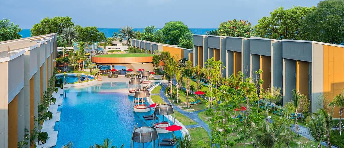 Aerial view of AVANI Hua Hin resort pool