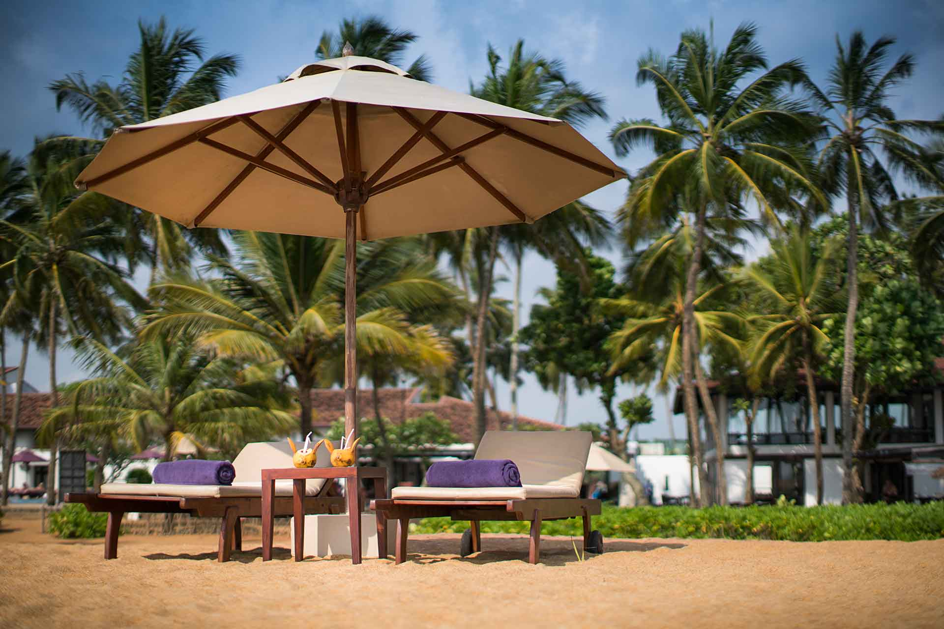 Two lounge chairs at AVANI Kalutara Resort beach