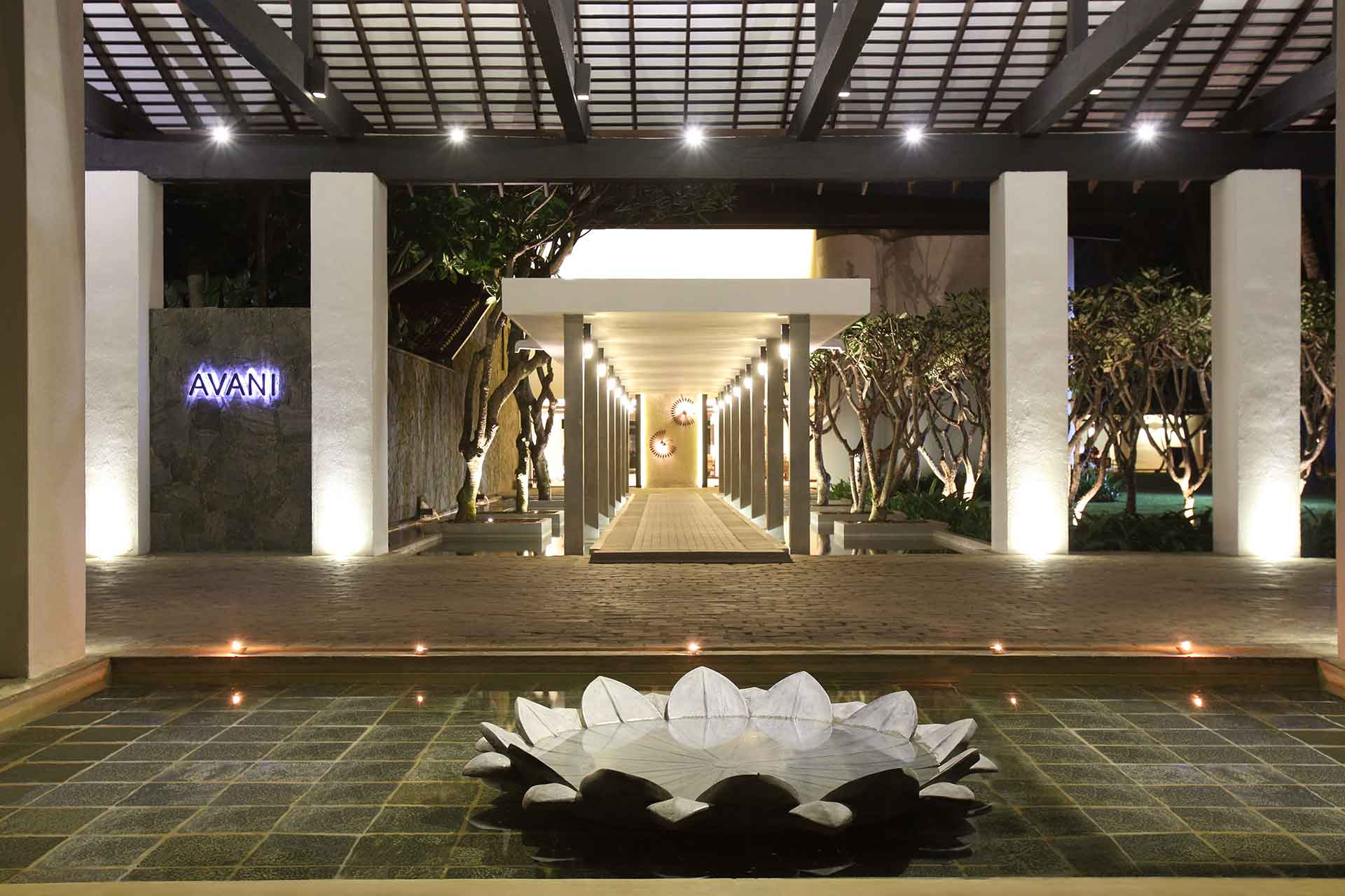 Entrance of AVANI Kalutara Resort at night