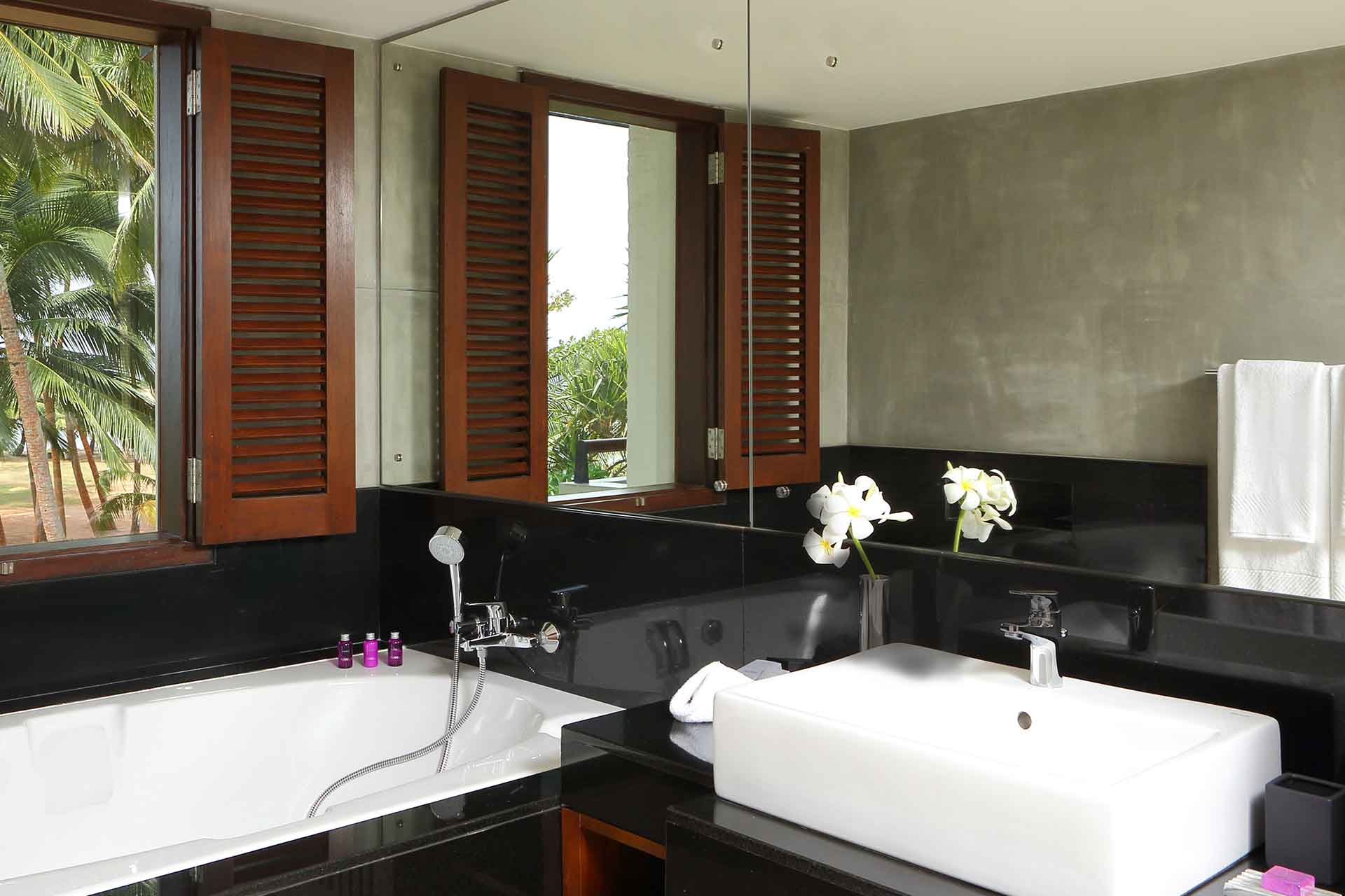 Interior of a Junior suite bathroom at AVANI Kalutara