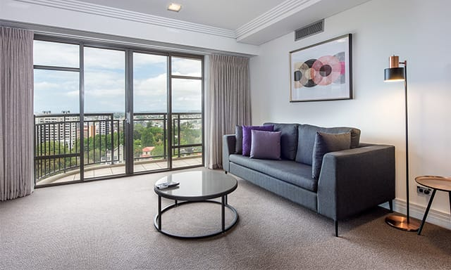 1 Bedroom Executive Park Suite living out In at AVANI Metropolis Auckland Residence hotel
