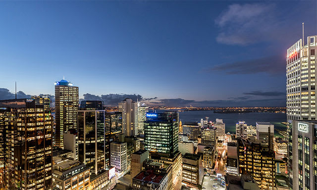 city view at night from AVANI Metropolis Auckland Residences Auckland hotels