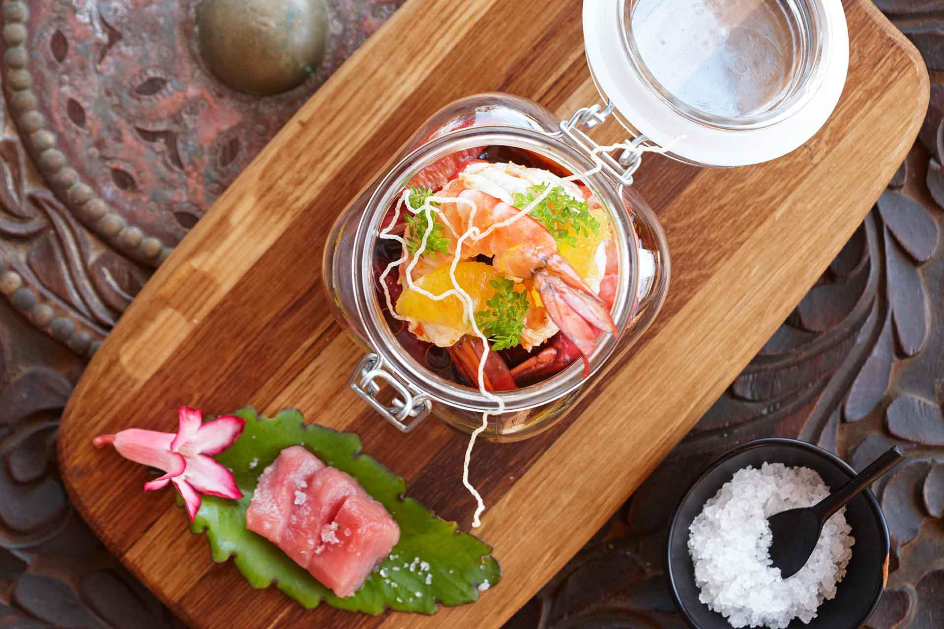 A seafood salad dish at AVANI Pemba Beach Hotel