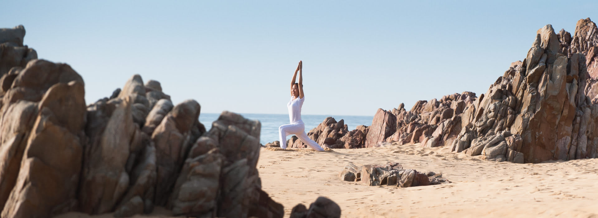 A girl doing yoga in the morning