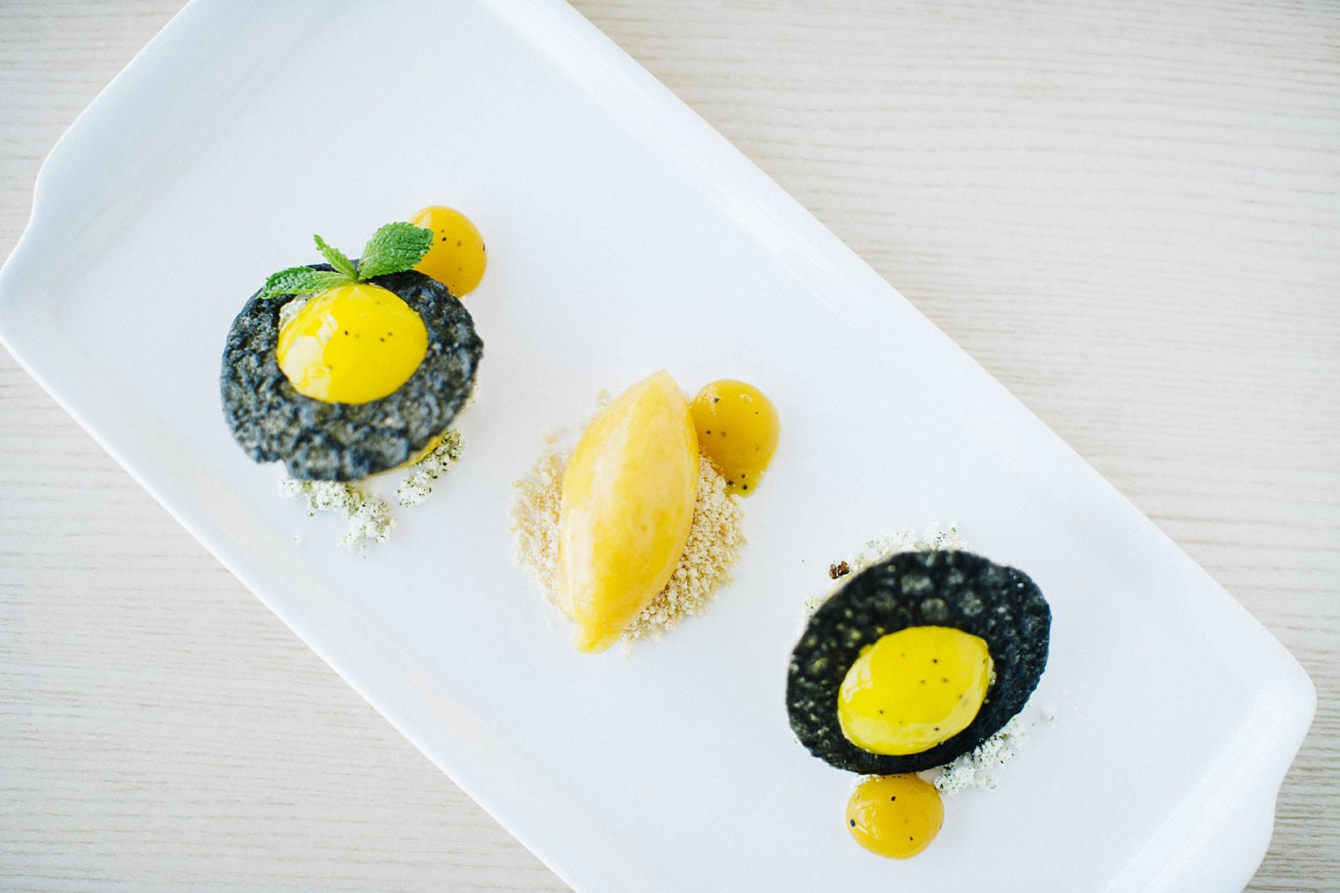 A dish of Passion fruit cheesecake