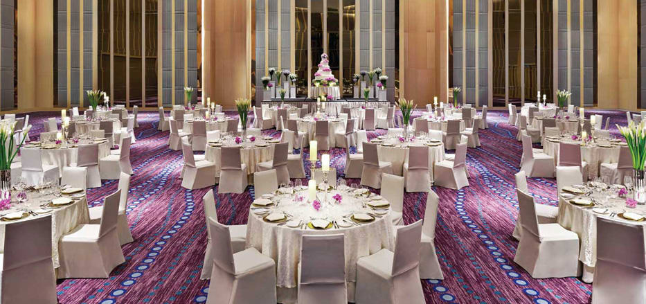 A well decorated banquet hall at AVANI Riverside