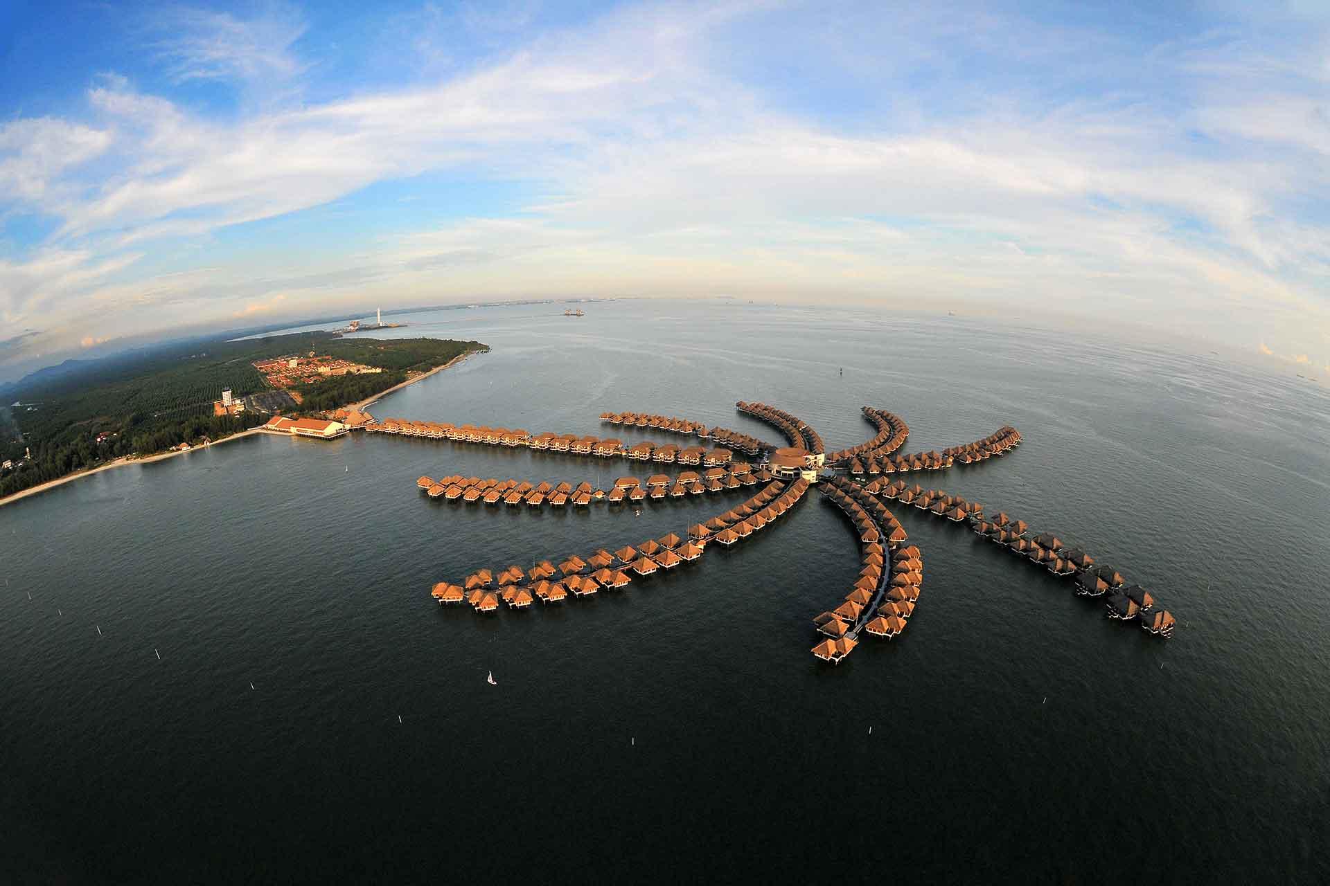Aerial view of AVANI Sepang overwater villas