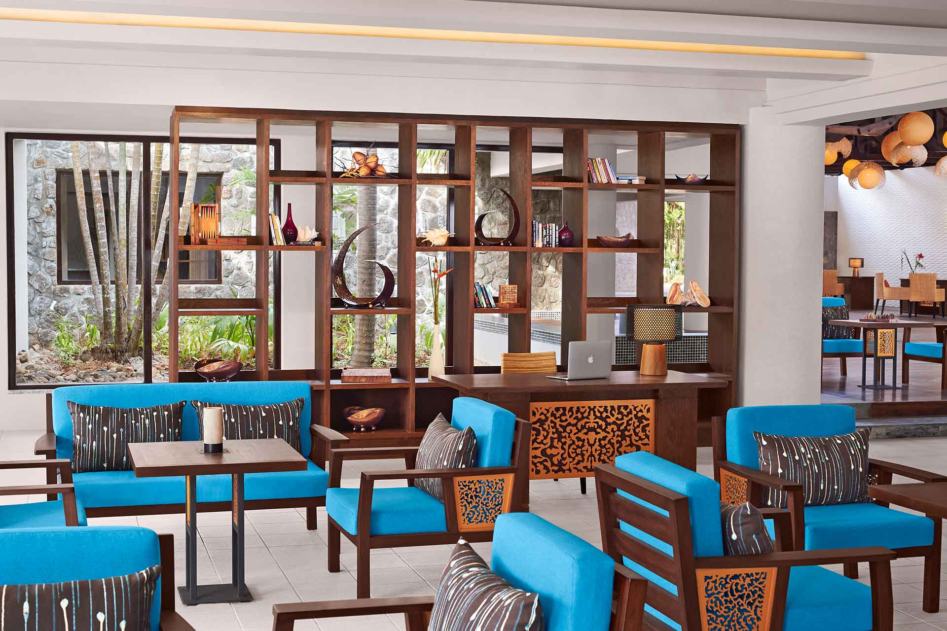 Cozy library area of AVANI Seychelles