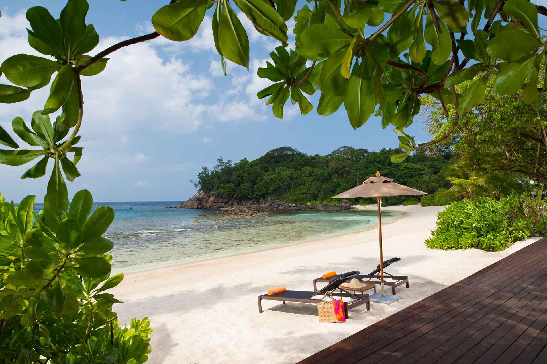 Seychelles private beach with sun beds
