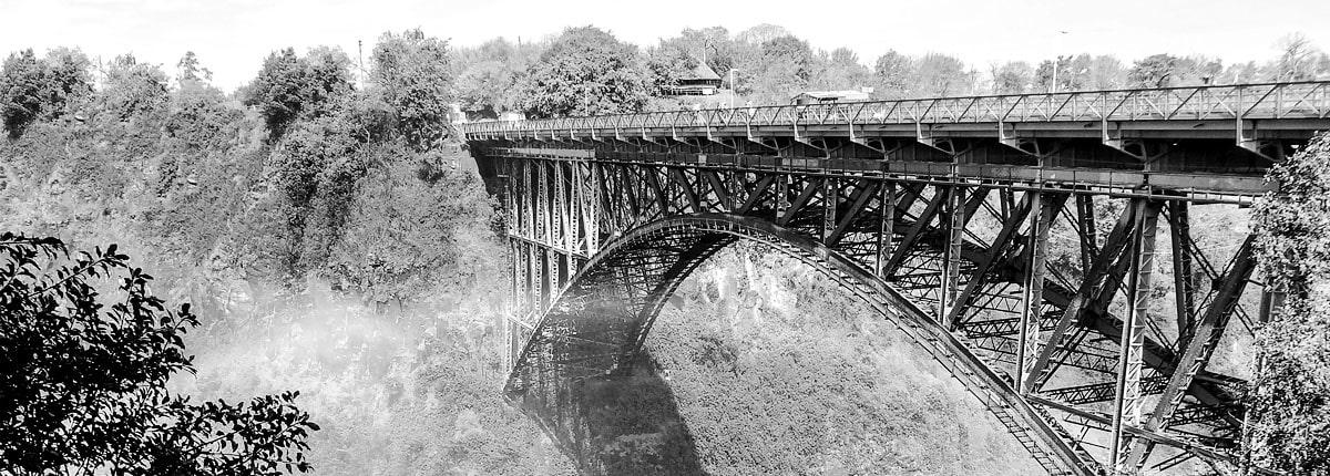 Victoria Falls arch Bridge greyscale image