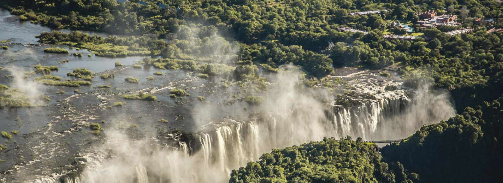Aerial view of cascading Victoria falls