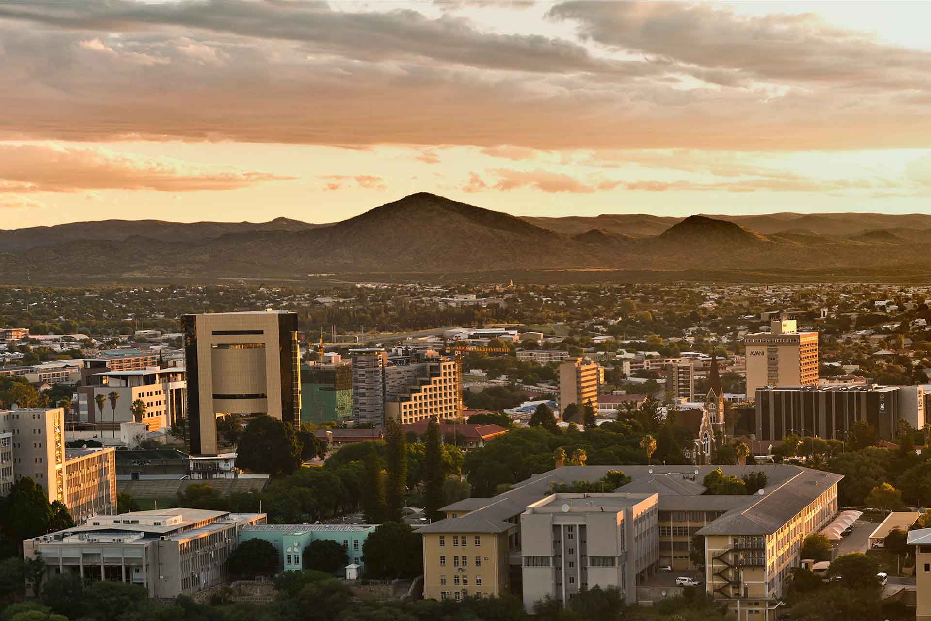 Aerial view of Windhoek City and Mountain range